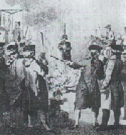 Catherine Hayes being burned at the stake